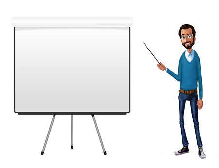 discours d'entreprise près de flip chart. Présentation du produit de l'entreprise, projet, rapport à la conférence. L'homme en chemise raconte l'histoire. Raconter une histoire et un ensemble de caractères. technologies et services Cloud Banque d'images