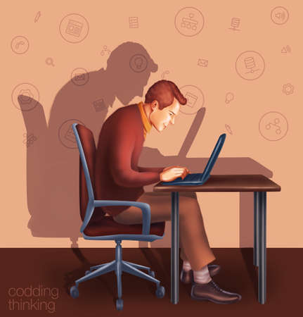 work place: Illustration work place home, office, cafe. The man sitting at the table. Office working businessman typing on a laptop.  Teamwork, a remote employee. Project Manager, designer, programmer. Stock Photo