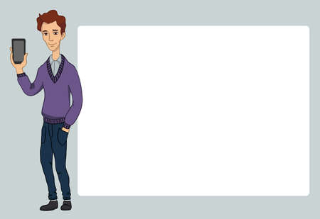 penniless: Guy with smartphone screen on white background. Vector illustration character with bubble talk.  Flat design concepts for web banners, web sites, printed materials, infographics, startup, marketing. Illustration