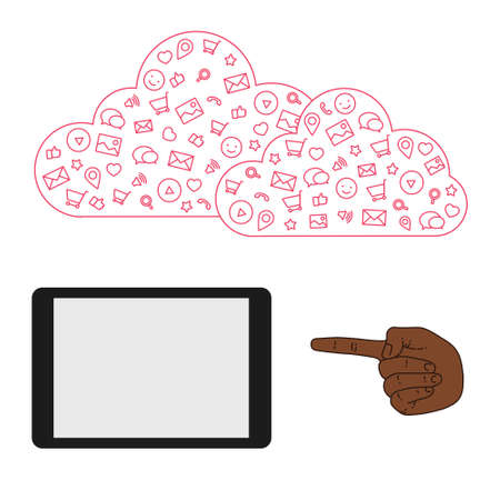 timing the market: Icons set in flat style on background. Illustration of cloud technology and services. Hand with a tablet. Social media and networking in devices