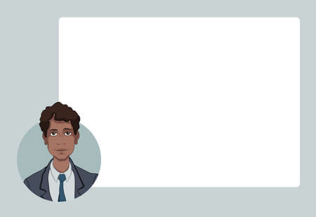 penniless: Presentation with business people. Vector illustration character with bubble talk.  Modern flat design concepts for web banners, web sites, printed materials, infographics, startup, marketing.