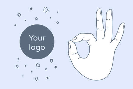 all right: Vector OK hand gesture. All right hand drawn sign. Vector flat illustration. Isolated on white background.