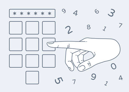keypad: Vector flat style on background. Illustration of Enter secret pin code. Hand and finger pushing button on a keypad. Password and unlock, access, identification, unlock symbol. Buttons