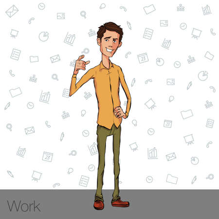conference speaker: Business speech near the flip chart. Vector presentation of business product, project, report at the conference. Man in shirt tells the story. Storytelling and conference speaker for slide template
