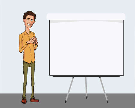 slide show: Business speech near the flip chart. Vector presentation of business product, project, report at the conference. Man in shirt tells the story. Storytelling and conference speaker for slide template