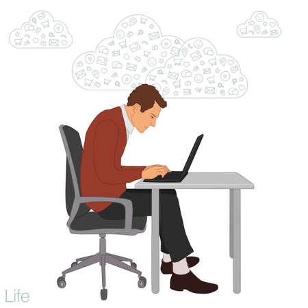 cartoon cloud: Work in office: project Manager, designer, secretary. Cloud technologies, services, documents for remote team. Illustration of busness man in workplace with laptop. Employee in suit sitting at desktop