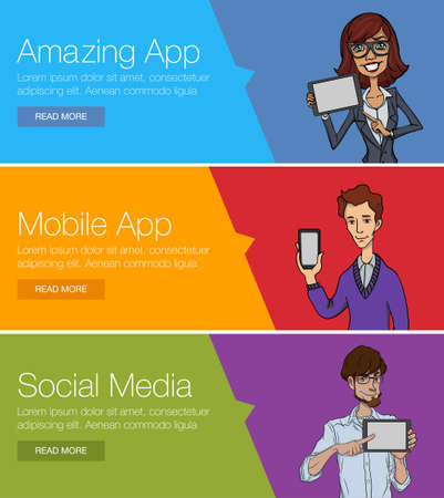 Flat design concept for website template - mobile app, smartphone, social media, business. Web banners or headers vector illustration. Web banner for presentation. Cartoon characters with mobile Vetores