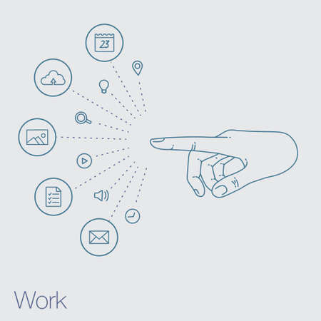 a touch: Hand set of line icons. Demonstration internet and social network. Vector flat illustration of cloud service and technology. Sharing of working file and document project.  Tools for business and work.
