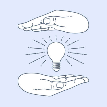 pick light: Vector flat style on background. Illustration innovative idea - shining light bulb in hand. Icon set for presentation of save energy.