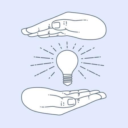 shining light: Vector flat style on background. Illustration innovative idea - shining light bulb in hand. Icon set for presentation of save energy.