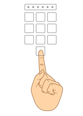 secret number: Vector flat style on background. Illustration of Enter secret pin code. Hand and finger pushing button on a keypad. Password and unlock, access, identification, unlock symbol. Buttons