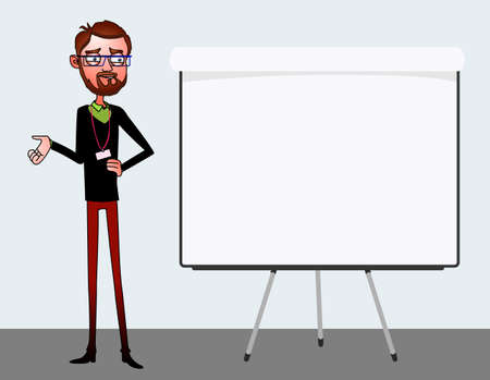 talk show: Speech presentation of business product, project, report at conference. Handsome man in shirt tells story of website. Leadership storytelling and set of characters. Vector isolated illustration
