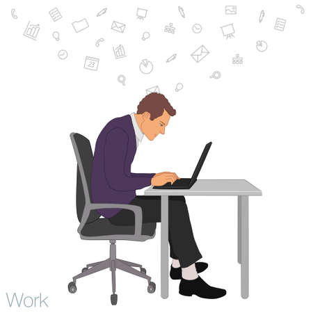 secretary office: Work in office: project Manager, designer, secretary. Cloud technologies, services, documents for remote team. Illustration of busness man in workplace with laptop. Employee in suit sitting at desktop