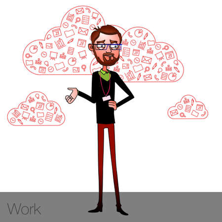 talk show: Speech presentation of business product, project, speech at conference. Handsome man wit balloon isolated of website. Storytelling in vector balloon. Vector isolated illustration guy with balloon