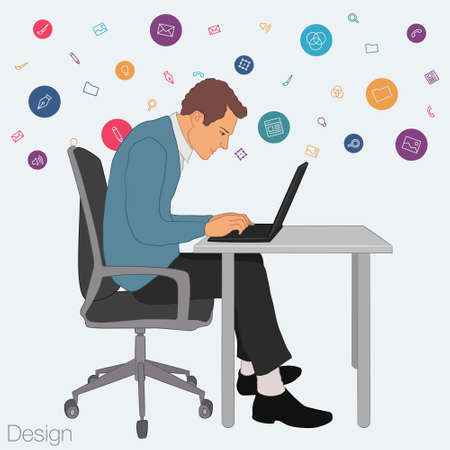 project manager: Work in office: project Manager, designer, secretary. Cloud technologies, services, documents for remote team. Illustration of busness man in workplace with laptop. Employee in suit sitting at desktop