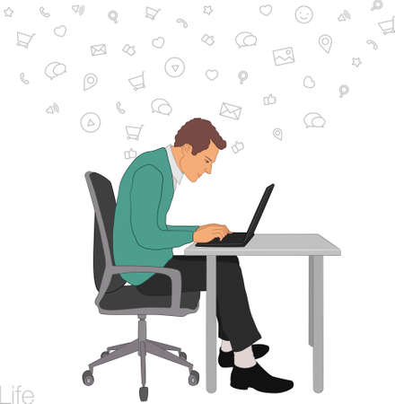 busness: Work in office: project Manager, designer, secretary. Cloud technologies, services, documents for remote team. Illustration of busness man in workplace with laptop. Employee in suit sitting at desktop