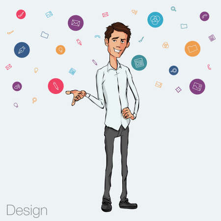 storytelling: Speech presentation of business product, project, speech at conference. Handsome man wit balloon isolated of website. Storytelling in vector balloon. Vector isolated illustration balloon with guy Illustration