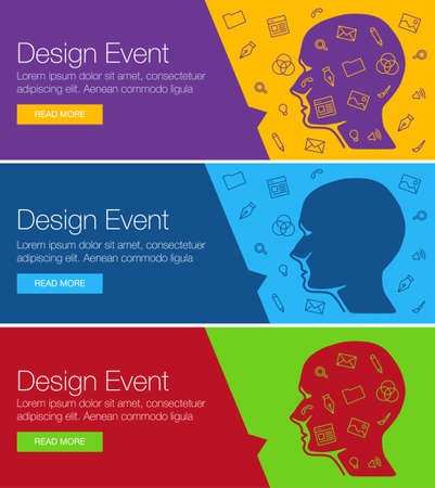 training course: Poster for online course, training, workshop. Banner for web site advertising of business training. Set of vector ribbon banners. Human head with set of icons bubble talk. Linear icon design ideas Illustration