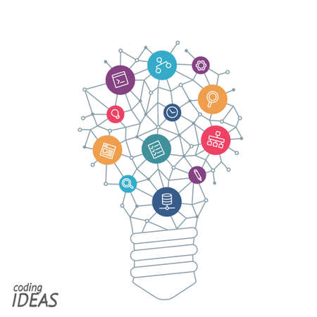 originator: Ideas for techology. Tools and services for network. Light bulb with icons in flat style for tools, programs, slides. Vector illustration concept of UX thought and enlightenment.