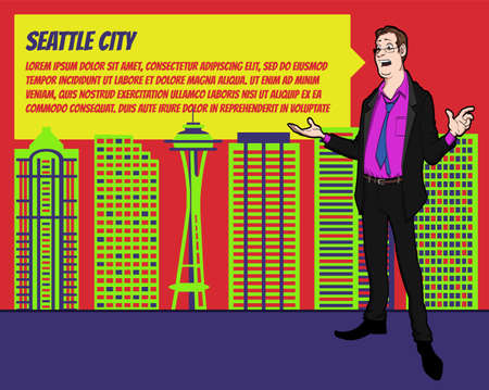 businees: Presentation on background of city.  Businees man in the suit. Character with bubble talk. Speech presentation of business product, project, speech at conference. Conference in Seattle