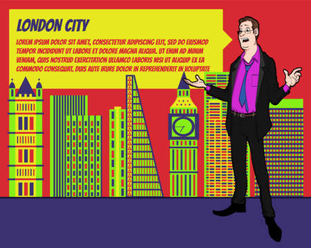 mention: Presentation on background of city.  Businees man in the suit. Character with bubble talk. Speech presentation of business product, project, speech at conference. Conference in London Illustration