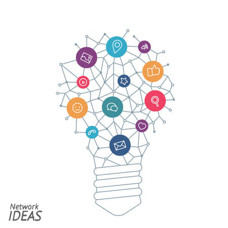 Ideas for techology. Tools and services for network. Light bulb with icons in flat style for tools, programs, slides. Vector illustration concept of UX thought and enlightenment. Vektoros illusztráció