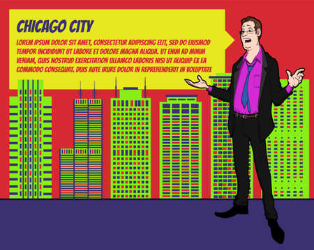 businees: Presentation on background of city.  Businees man in the suit. Character with bubble talk. Speech presentation of business product, project, speech at conference. Conference in Chicago