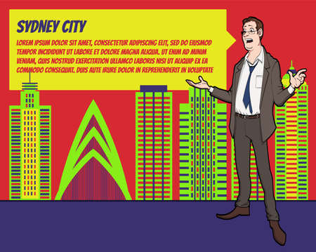 businees: Presentation on background of city.  Businees man in the suit. Character with bubble talk. Speech presentation of business product, project, speech at conference. Conference in Sydney