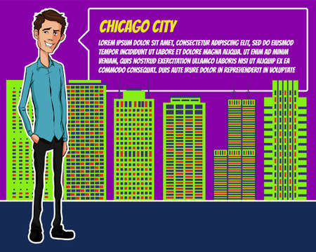 Presentation on background of city.  Businees man in the suit. Character with bubble talk. Speech presentation of business product, project, speech at conference. Conference in Chicago