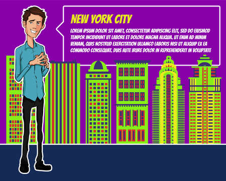 businees: Presentation on background of city.  Businees man in the suit. Character with bubble talk. Speech presentation of business product, project, speech at conference. Conference in New York
