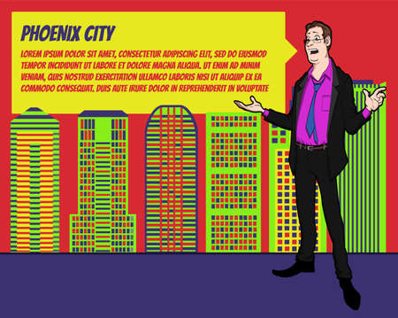businees: Presentation on background of city.  Businees man in the suit. Character with bubble talk. Speech presentation of business product, project, speech at conference. Conference in Phoenix