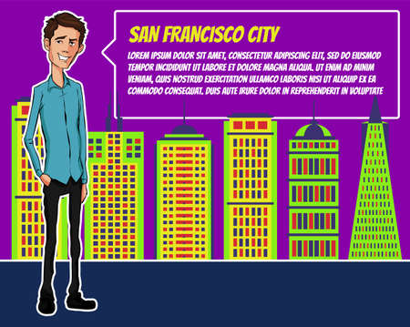 Presentation on background of city.  Businees man in the suit. Character with bubble talk. Speech presentation of business product, project, speech at conference. Conference in San Francisco