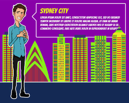 inverted: Presentation on background of city.  Businees man in the suit. Character with bubble talk. Speech presentation of business product, project, speech at conference. Conference in Sydney