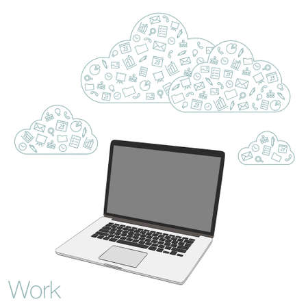 laptop computer: PC laptop for work and social networks. Display laptop for banners, presentations, website. Set of flat icons. Illustration for background of banner. Presentation template of  computer screen