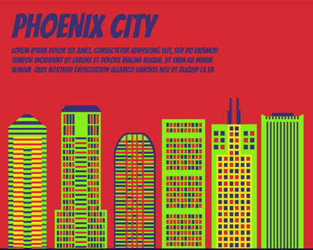 boston skyline: Vector template banner for website header, advertisement. Vector flat city for banner, illustration, background, game. Flat city for presentations, poster. Colorful Chicago
