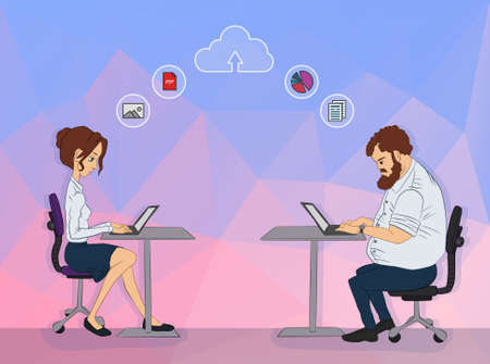 Vector illustration of workplace and coworking. Social network and web icons. UX designer and internet sharing. Icon set of cloud sharing technology and service. Character designer man in hackathon. Vektorové ilustrace