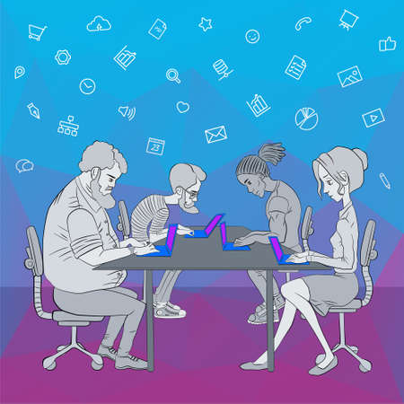 Vector illustration of workplace and coworking. Social network and web icons. UX designer and internet sharing. Icon set of cloud sharing technology and service. Character designer man in hackathon. Ilustração