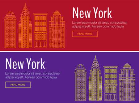 workshop seminar: Vector template banner for website header, advertisement. Vector New York city for banner, illustration, background. Flat New York city for banner. Hackathon, workshop, seminar, lecture in New York