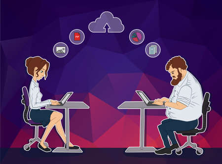 Vector illustration of workplace and coworking. Social network and web icons. UX designer and internet sharing. Icon set of cloud sharing technology and service. Character designer man in hackathon.