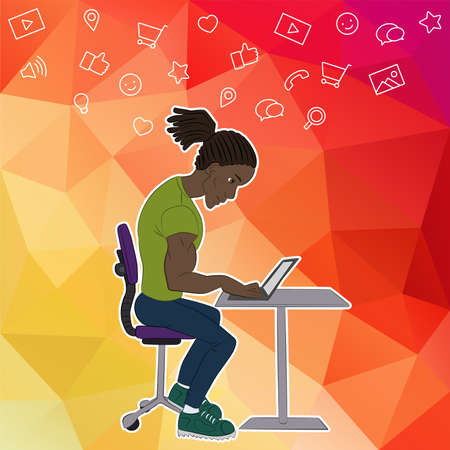 Vector illustration of workplace and coworking. Social network and web icons. UX designer and internet sharing. Icon set of cloud sharing technology and service. Character designer man in hackathon