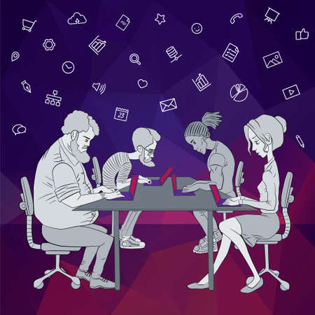 Team of project developers. Project team of hackathon. Coworking space in team meeting. Sharing of working files and business materials. Vector flat illustration of project team and network technology