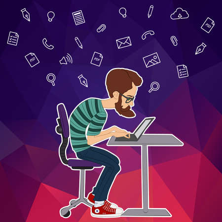 workaholic: Vector illustration of workplace and coworking. Social network and web icons. UX designer and internet sharing. Icon set of cloud sharing technology and service. Character designer man in hackathon