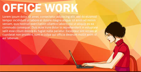 unrecognizable: Vector banner of cartoon woman on laptop. Business woman surfing internet. Business woman with laptop in office - vector banner. Cartoon businesswoman on desk. Vector banner with laptop and woman Illustration