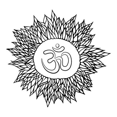shree: Vector indian spiritual sign ohm. Great design for tattoo, yoga studio, spirituality concepts, trendy textiles Illustration