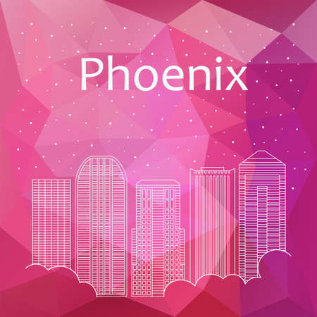 Phoenix for banner, poster, illustration, game, background. Vector background Phoenix - snow is falling. Night life of Phoenix. Hackathon, workshop, training in Phoenix. Holiday in Phoenix