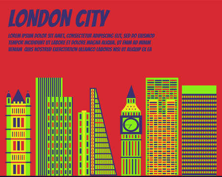 Vector template banner for website header, advertisement. Vector flat city for banner, illustration, background, game. Flat city for presentations, poster. Colorful Chicago