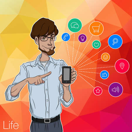 timing the market: Mobile smartphone with notification. Characters with mobile app notification. Smartphone with mobile app. Characters with mobile smartphone. Man with online notification of app. Man with mobile phone
