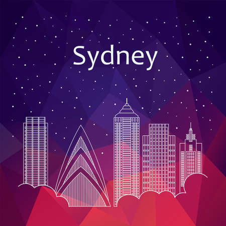 night life: Sydney for banner, poster, illustration, game, background. Vector background Sydney - snow is falling. Night life of Sydney. Hackathon, workshop, training in Sydney. Holiday in Sydney