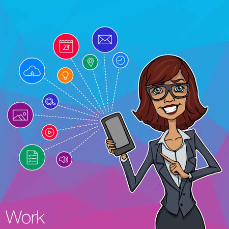 Vector woman with mobile smartphone app on white background. Woman with mobile app, startup, website. Cloud service, social network and technology with notification. Mobile notification of hackathon Illustration