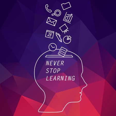 Vector banner - ne jamais cesser d'apprendre. Bannière pour les cours en ligne, la formation pédagogique, app. Chef de l'homme avec les icônes des programmes de travail. Bannière pour les cours d'apprentissage. tête de ligne de vecteur pour la bannière